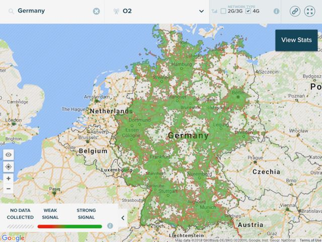 4g network coverage map o2 germany