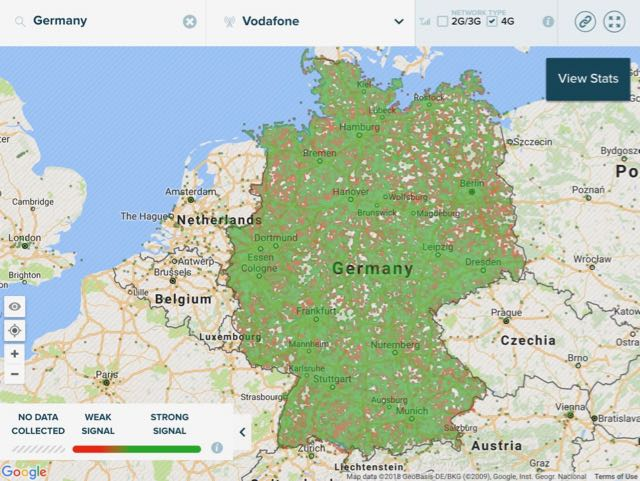 4g network coverage map vodafone germany