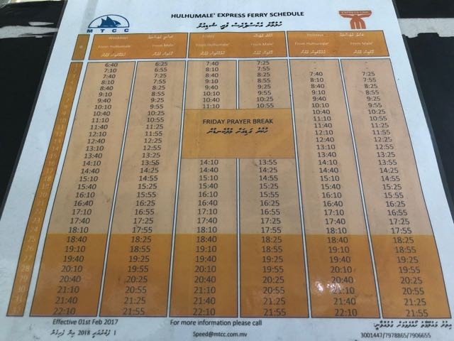 ferry schedule hulhumale male