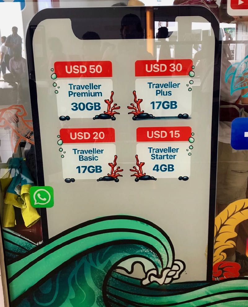 prices sim card maldives 3