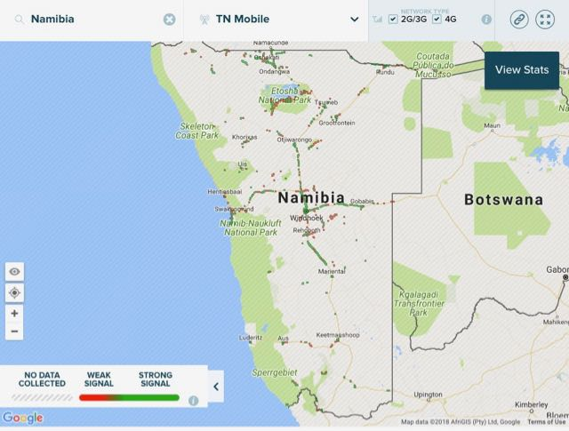 network coverage map telecom namibia