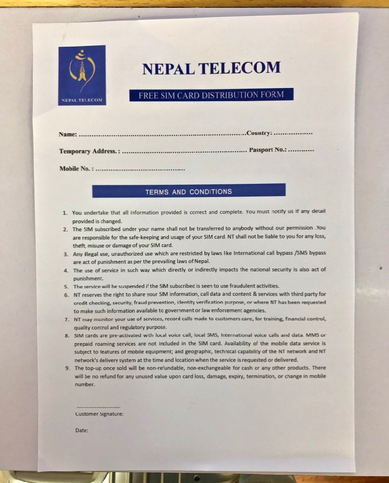 nepal telecom sim card registration form