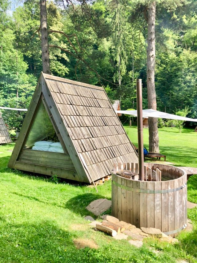 glamping hut with private bath tub