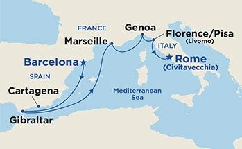 Itinerary cruise from barcelona to rome