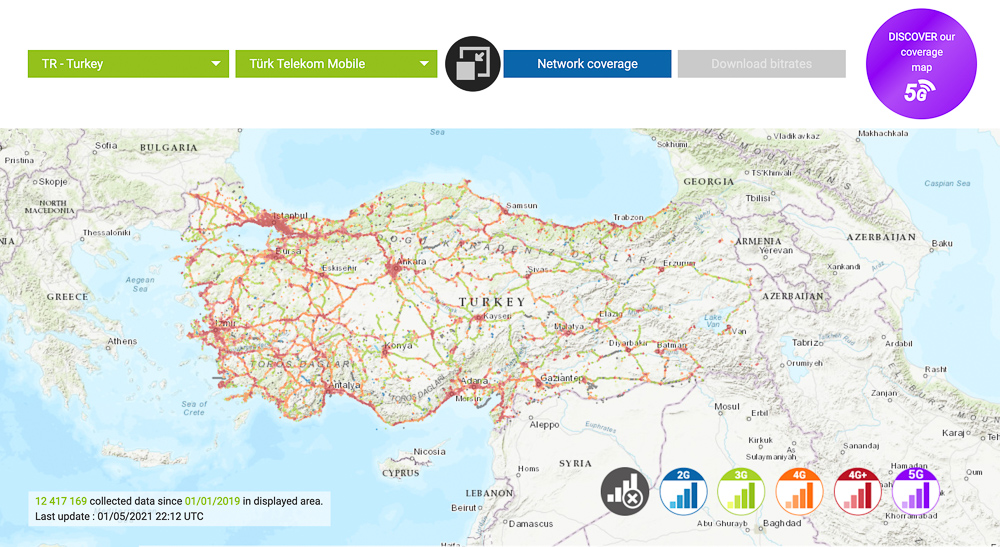 turk telekom turkey mobile coverage map