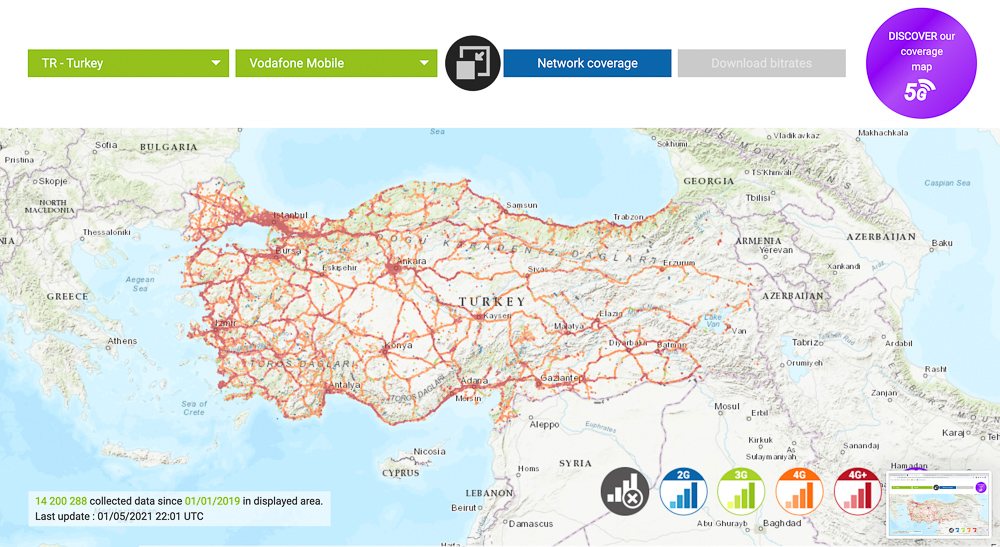 vodafone turkey mobile coverage map