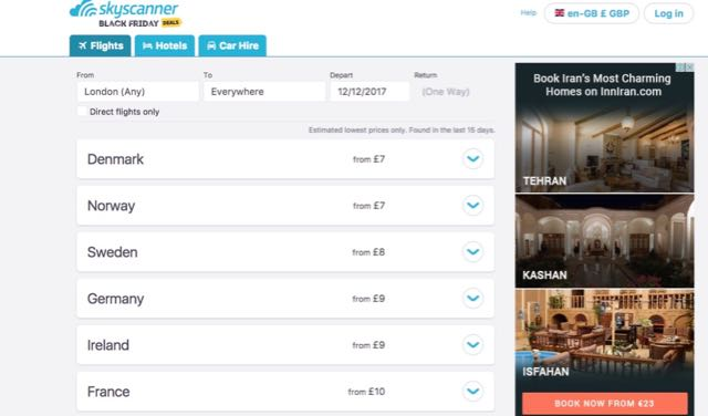 how to find cheap flights from london with skyscanner